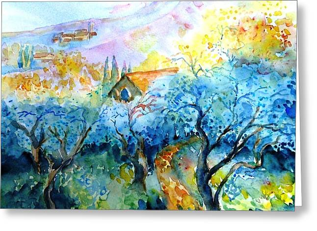 The Uffizi Greeting Cards - Morning Sunrise in a Tuscan Olive grove Greeting Card by Trudi Doyle