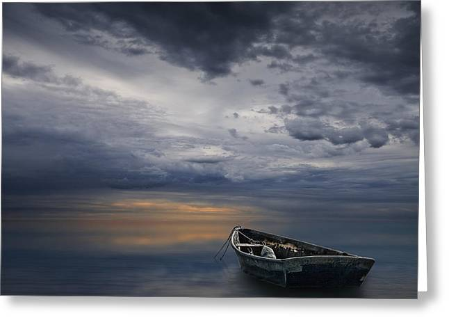 Randy Greeting Cards - Morning Sunrise over Calm Waters Greeting Card by Randall Nyhof