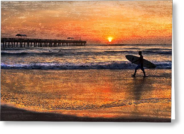 Best Sellers -  - Surfer Art Greeting Cards - Morning Surf Greeting Card by Debra and Dave Vanderlaan