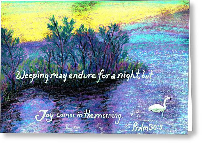 Scripture Pastels Greeting Cards - Morning Swan Greeting Card by Catherine Saldana
