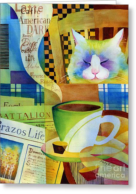 Newspaper Greeting Cards - Morning Table Greeting Card by Hailey E Herrera