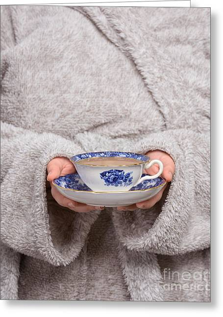 Bathrobe Greeting Cards - Morning Tea Greeting Card by Amanda And Christopher Elwell