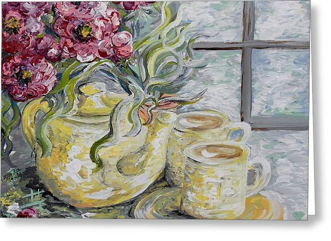 Tea For Two Greeting Cards - Morning Tea for Two Greeting Card by Eloise Schneider