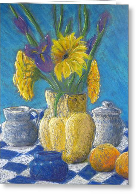 Jugs Pastels Greeting Cards - Morning Tea Greeting Card by Tina Pitsiavas