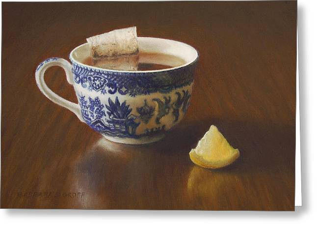 Cup Pastels Greeting Cards - Morning Tea with Lemon Greeting Card by Barbara Groff