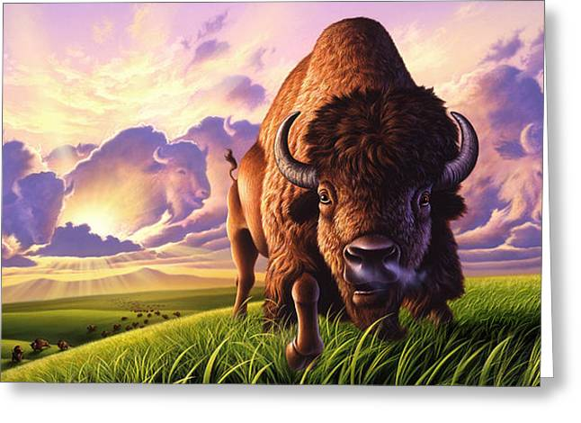 Buffalo Greeting Cards - Morning Thunder Greeting Card by Jerry LoFaro