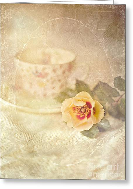Saucer Peach Greeting Cards - Morning Time Wild Rose and Teacup Greeting Card by Susan Gary
