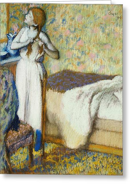 Nightdress Greeting Cards - Morning Toilet Greeting Card by Edgar Degas