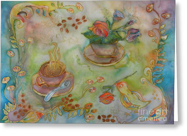 Cup Tapestries - Textiles Greeting Cards - Morning Tray Greeting Card by Ruta Naujokiene