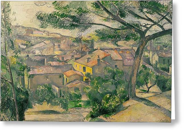 Against The Sunlight Greeting Cards - Morning View of LEstaque Against the Sunlight Greeting Card by Paul Cezanne