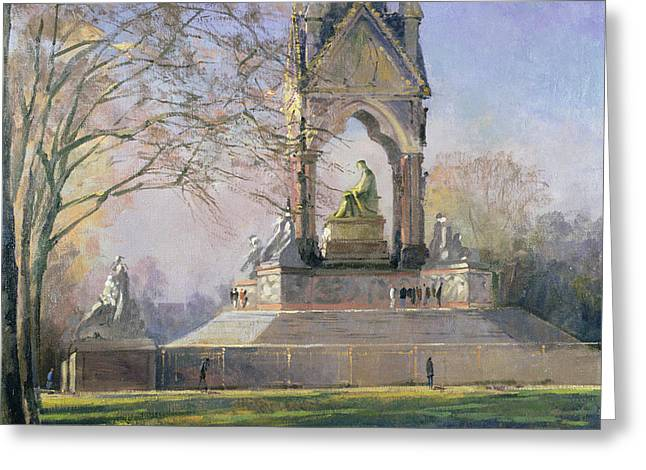 Kensington Greeting Cards - Morning Visitors To The Albert Memorial Oil On Canvas Greeting Card by Bob Brown