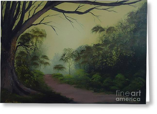 Tree Roots Paintings Greeting Cards - Morning Walk Greeting Card by Louise Williams