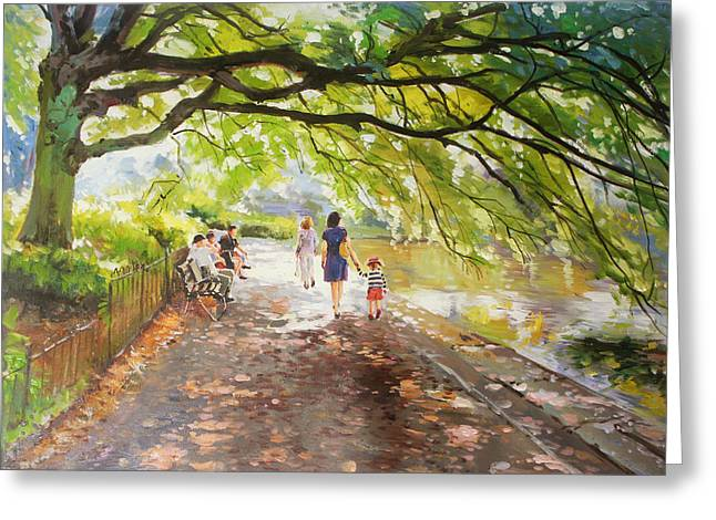 Ireland Greeting Cards - Morning Walk on Stephens Green Dublin Greeting Card by Conor McGuire
