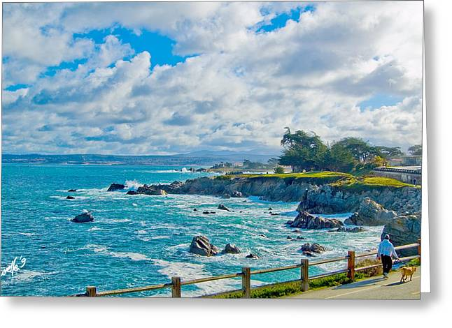 Recently Sold -  - California Beach Art Greeting Cards - Morning Walk - Pacific Grove CA Greeting Card by Jim Pavelle