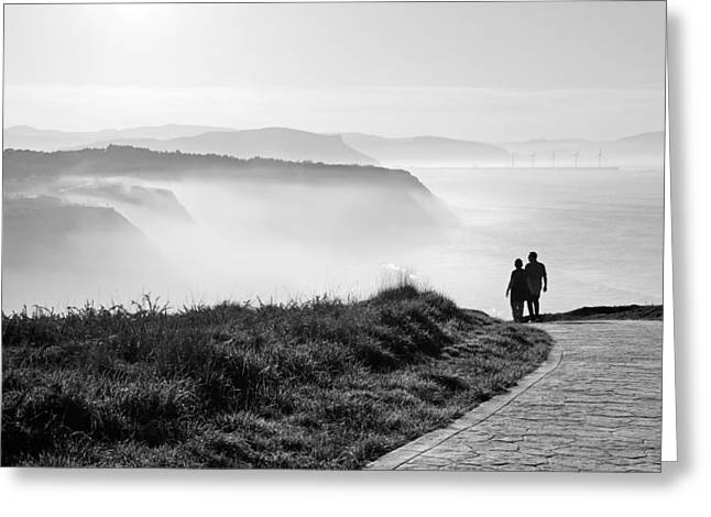 Cliffs Photographs Greeting Cards - Morning Walk With Sea Mist Greeting Card by Mikel Martinez de Osaba