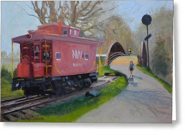Old Caboose Greeting Cards - Morning Warrenton Branch Greeting Card by Armand Cabrera