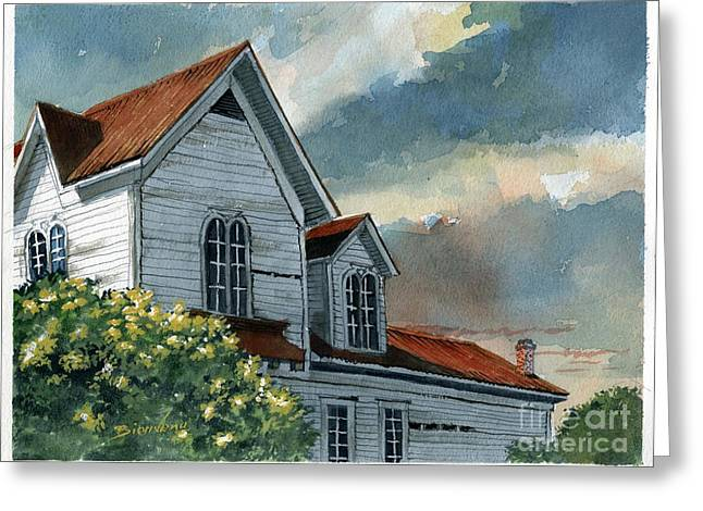 Tin Roof Paintings Greeting Cards - Mornings Chill Greeting Card by Gerald Bienvenu