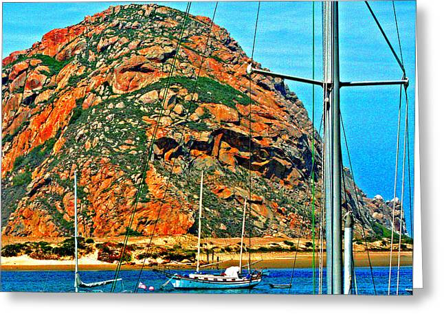Sailboat Photos Digital Art Greeting Cards - Moro Bay Sailing Boats Greeting Card by Joseph Coulombe