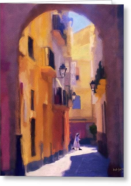 Purple Robe Greeting Cards - Moroccan Light Greeting Card by Bob Galka