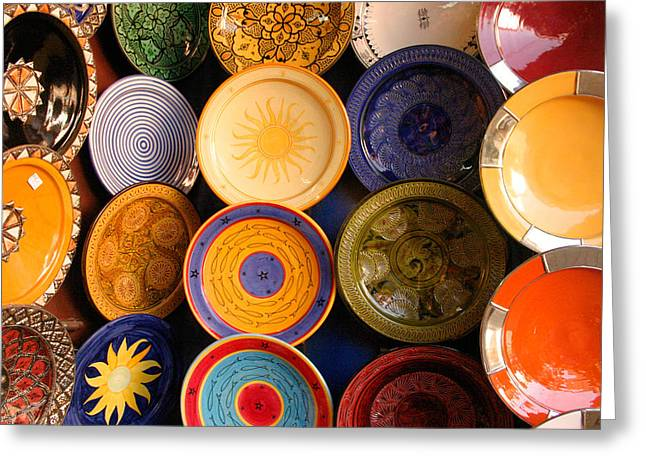 Northern Africa Greeting Cards - Moroccan Pottery on display for sale Greeting Card by Ralph A  Ledergerber-Photography
