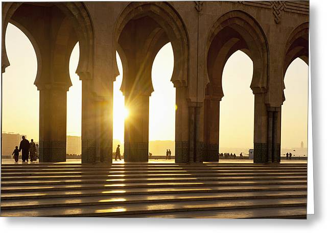 Moroccan Courtyard Greeting Cards - Morocco, Archways Of Hassan Ii Mosque Greeting Card by Ian Cumming
