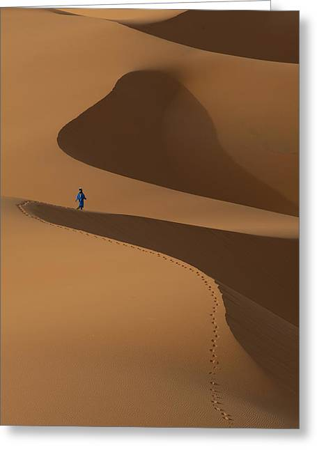 Simple Beauty In Colors Greeting Cards - Morocco, Berber Blue Man Walking Greeting Card by Ian Cumming