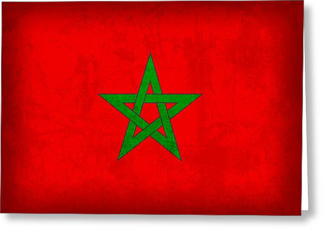 National Mixed Media Greeting Cards - Morocco Flag Vintage Distressed Finish Greeting Card by Design Turnpike