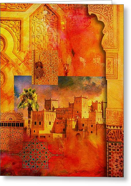 Mexico City Paintings Greeting Cards - Morocco Heritage Poster 00 Greeting Card by Catf