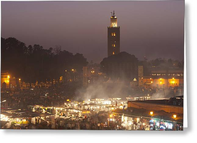 Food Stall Greeting Cards - Morocco, Looking Across Food Stalls Greeting Card by Ian Cumming