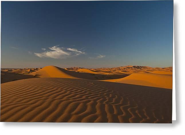 Sahara Sunlight Greeting Cards - Morocco, Sand Dune At Dusk Greeting Card by Ian Cumming