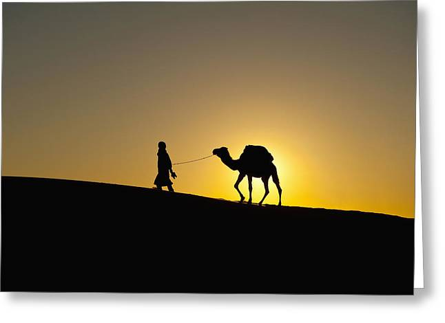 Berber Man Greeting Cards - Morocco, Silhouette Of Berber Blue Man Greeting Card by Ian Cumming
