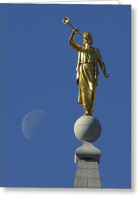 Salt Lake City Temple Greeting Cards - Moroni and the Moon Greeting Card by David Andersen