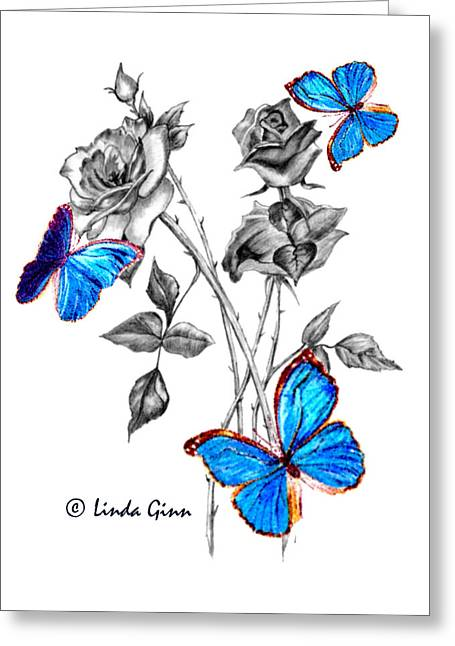 Morph Greeting Cards - Morph Butterflies on Black and White Roses Greeting Card by Linda Ginn