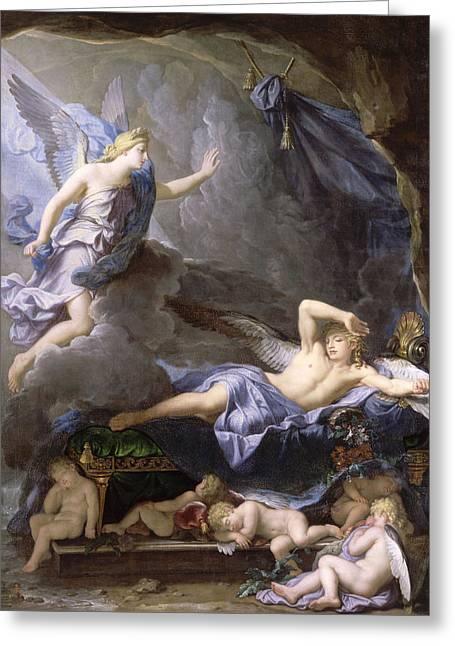 Rene Greeting Cards - Morpheus Awakening as Iris Draws Near Greeting Card by Rene-Antoine Houasse