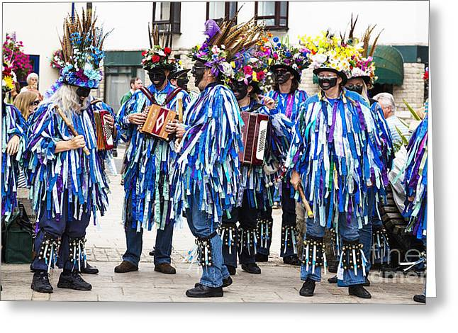 English Folk Music Greeting Cards - Morris Dancers and Musicians Greeting Card by Jinny Goodman