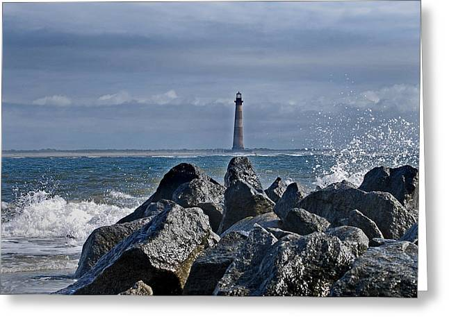 Recently Sold -  - Ocean Art. Beach Decor Greeting Cards - Morris Island Lighthouse Greeting Card by Skip Willits