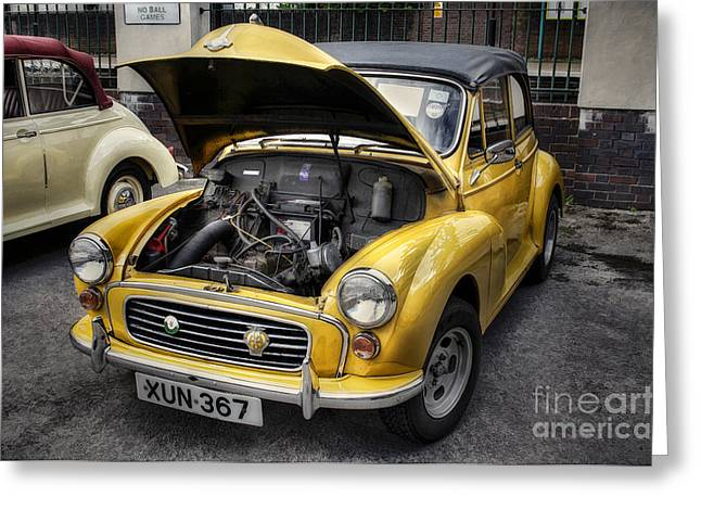 Wheel Framed Prints Greeting Cards - Morris Minor Greeting Card by Ian Mitchell