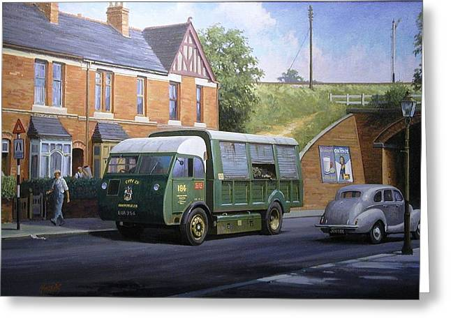 Refuse Greeting Cards - Morrison dustcart Greeting Card by Mike  Jeffries