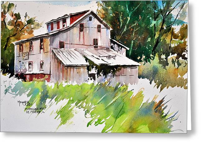 Grist Mill Paintings Greeting Cards - Morrison Mill Burnt Prairie Illinois Greeting Card by Spencer Meagher