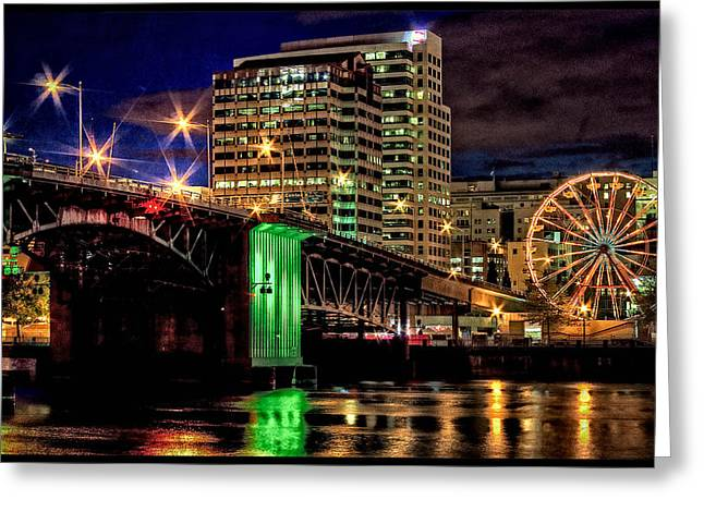 Recently Sold -  - Photo Art Gallery Greeting Cards - Morrison Street Bridge At Cinco De Mayo Time Greeting Card by Thom Zehrfeld