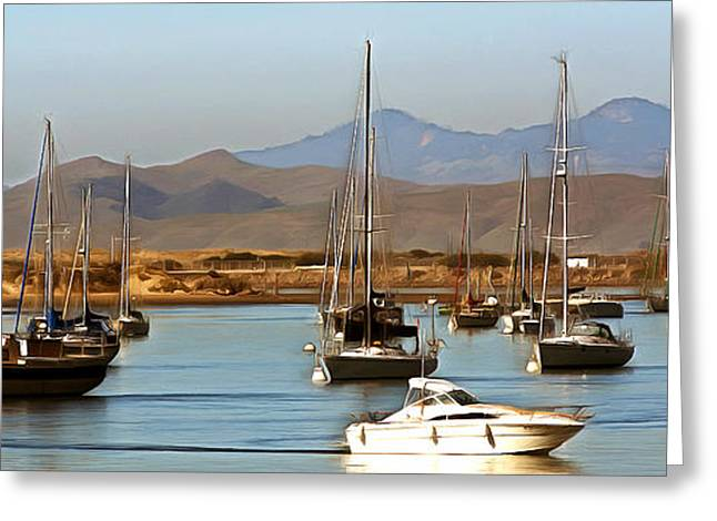 California Ocean Photography Paintings Greeting Cards - Morro Bay At Dusk Greeting Card by Barbara Snyder