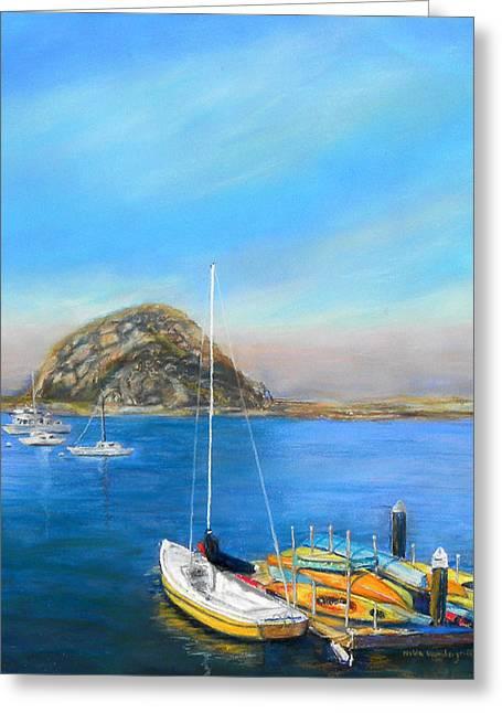 Highway Pastels Greeting Cards - Morro Bay California Greeting Card by Hilda Vandergriff