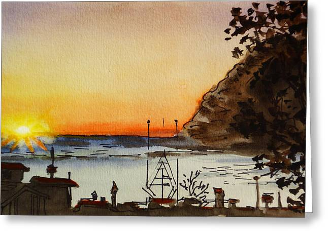 Morros Greeting Cards - Morro Bay - California Sketchbook Project Greeting Card by Irina Sztukowski