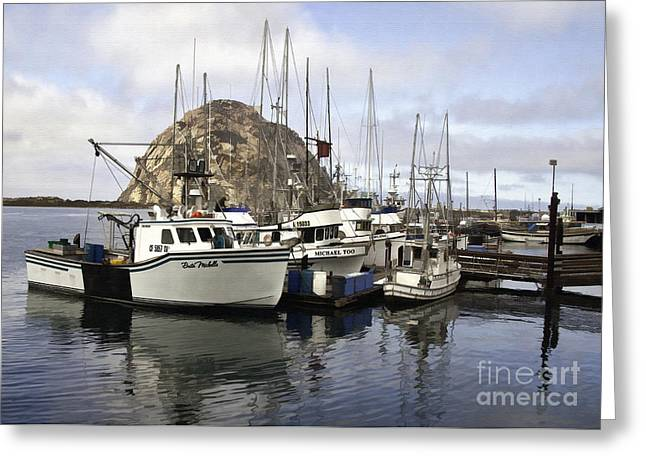 Morro Bay Harbor Greeting Cards - Morro Bay Harbor III Greeting Card by Sharon Foster