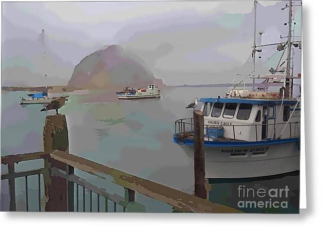 Boats In Harbor Mixed Media Greeting Cards - Morro Bay Morning Fog Greeting Card by Robert Wek