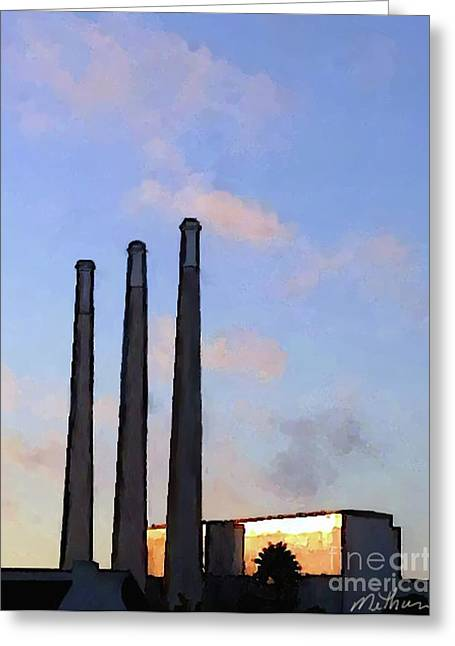 Power Plants Greeting Cards - Morro Bay Power Plant Greeting Card by Methune Hively