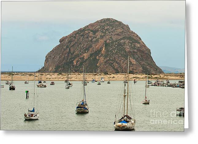 Morro Bay Rock at Dawn Greeting Card by Artist and Photographer Laura Wrede