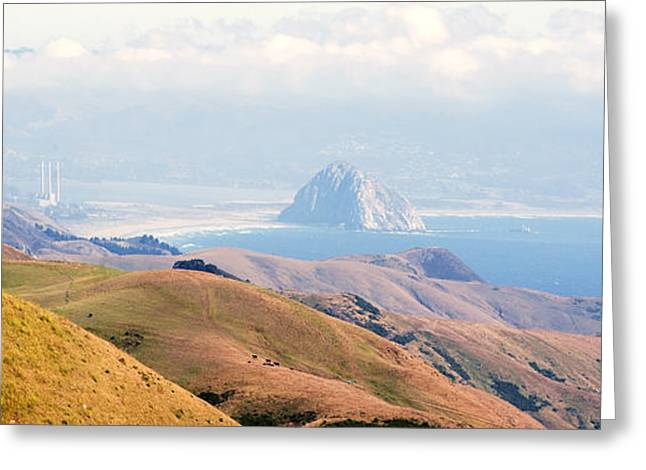 Cambria Greeting Cards - Morro Bay Rock Vista Overlooking Highway 46 Paso Robles California Greeting Card by Artist and Photographer Laura Wrede