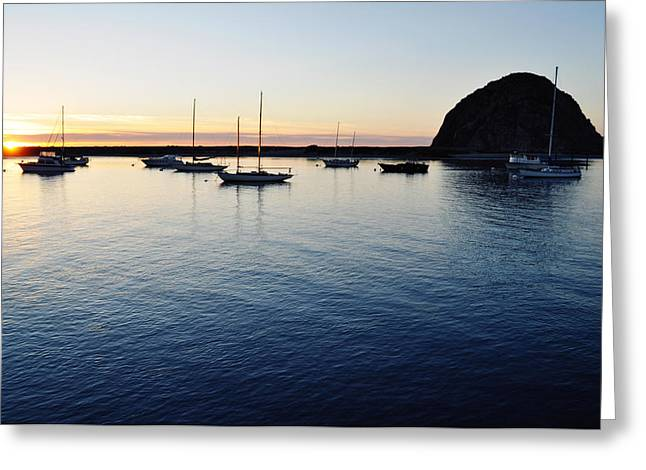 Nine Sisters Greeting Cards - Morro Bay Sunset Greeting Card by Kyle Hanson