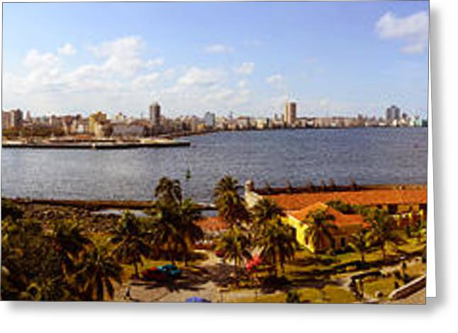 In-city Greeting Cards - Morro Castle With City Greeting Card by Panoramic Images